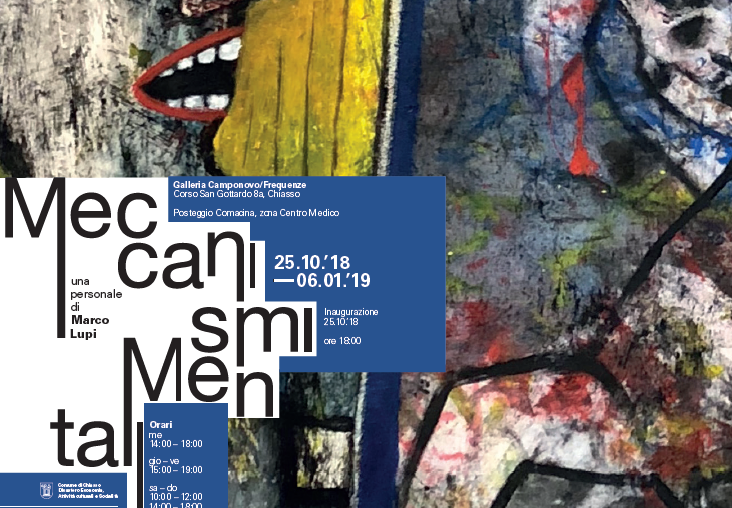 ESPOSIZIONI: Dal 25 ottobre al 6 gennaio 2019 Marco Lupi espone a Chiasso presso la nuova Galleria Camponovo/Frequenze.